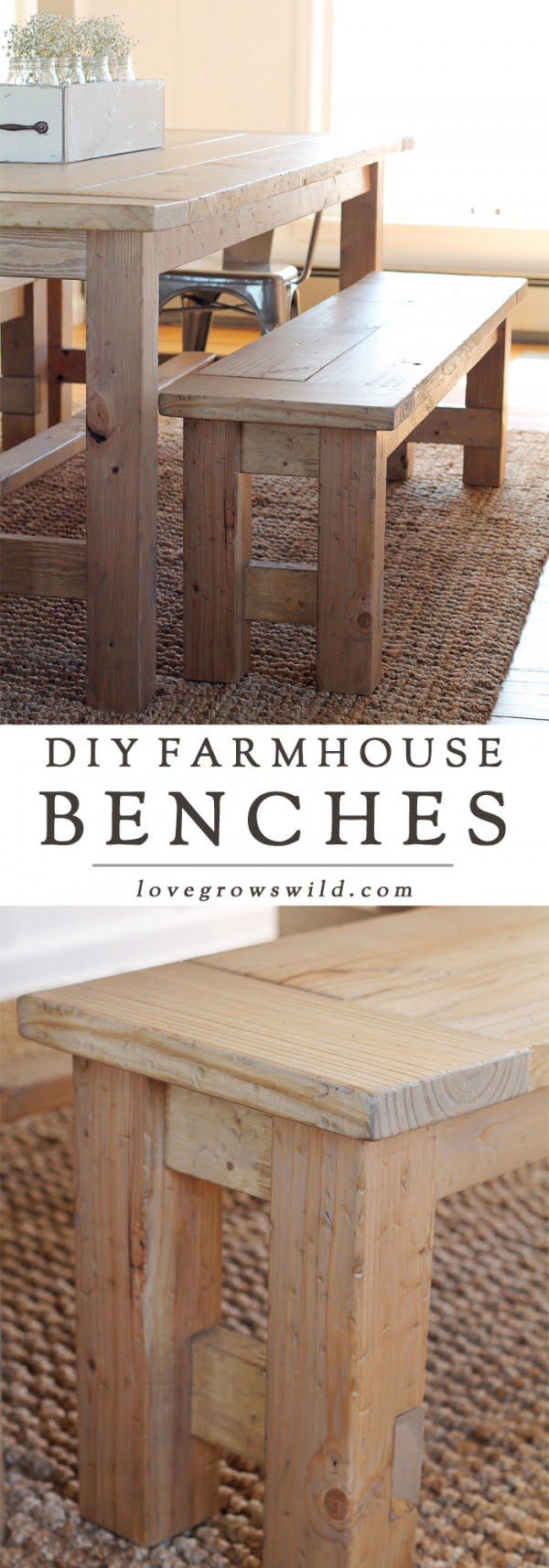 Check out the tutorial on how to make a DIY farmhouse bench