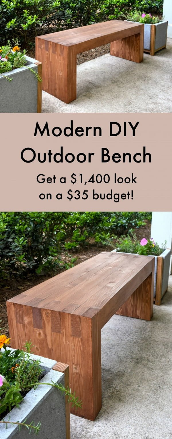 Check out how to build a DIY modern outdoor bench