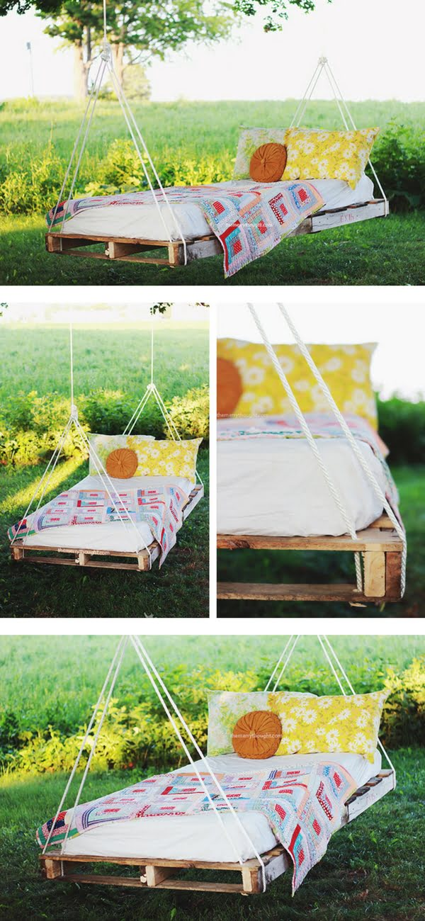 Check out how to build a DIY swing bed from pallet wood