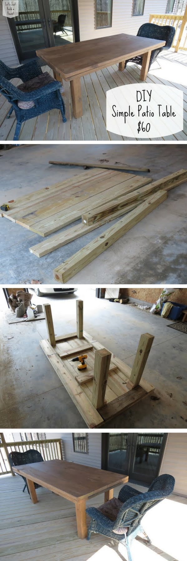 Check out how to build a simple DIY patio table