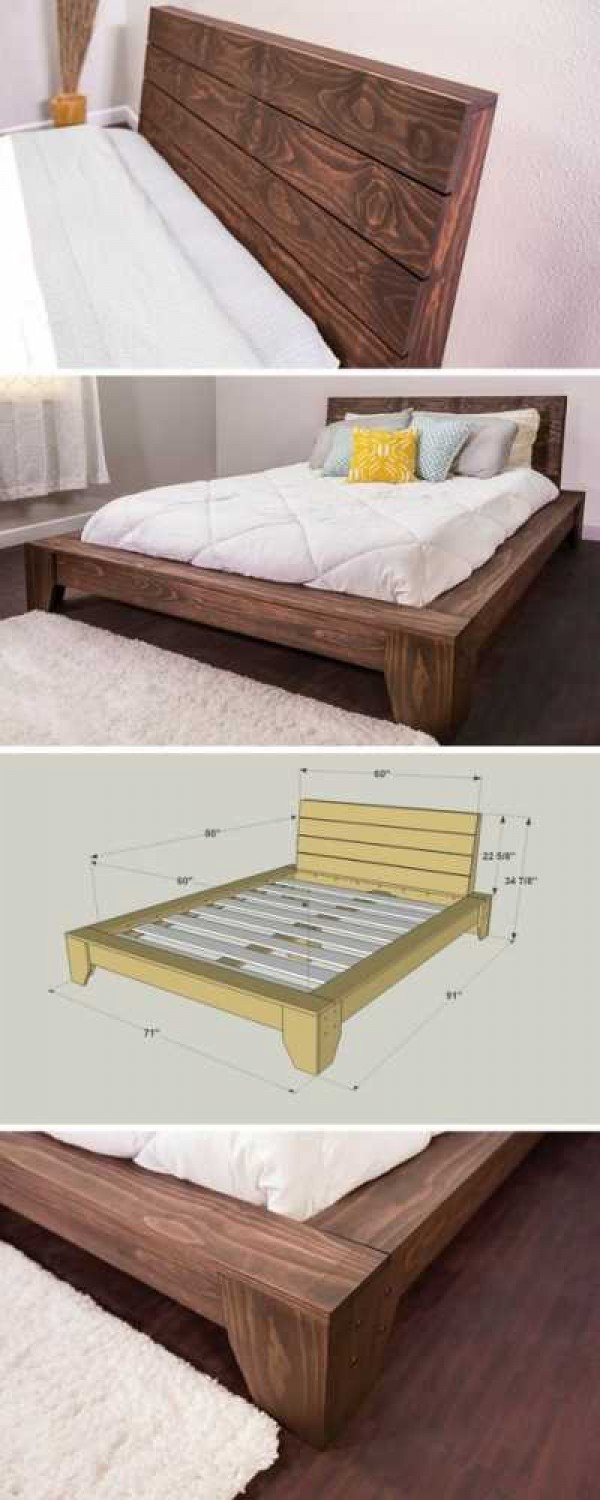 45 Easy DIY Bed Frame Projects You Can Build on a Budget - Check out the tutorial and plans on how to build a DIY platform bed