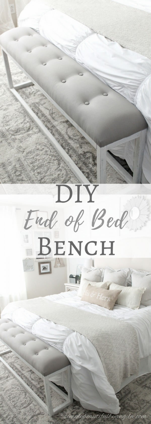 Check out the tutorial on how to make a DIY bed end bench