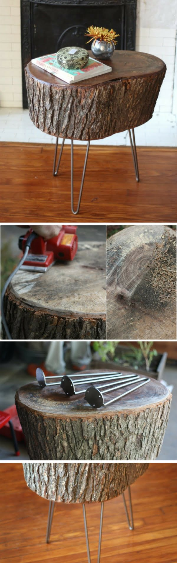 How to make a DIY tree stump table with hairpin legs