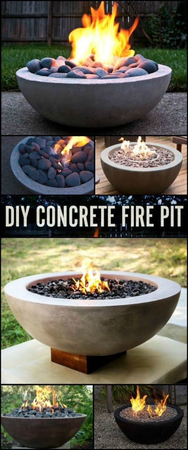 Check out the tutorial on how to make a DIY concrete bowl fire pit