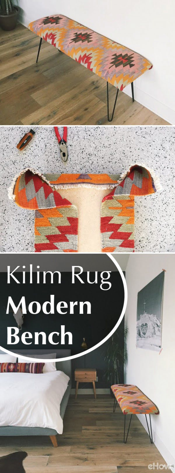 Check out the tutorial on how to make a DIY kilim rug bench