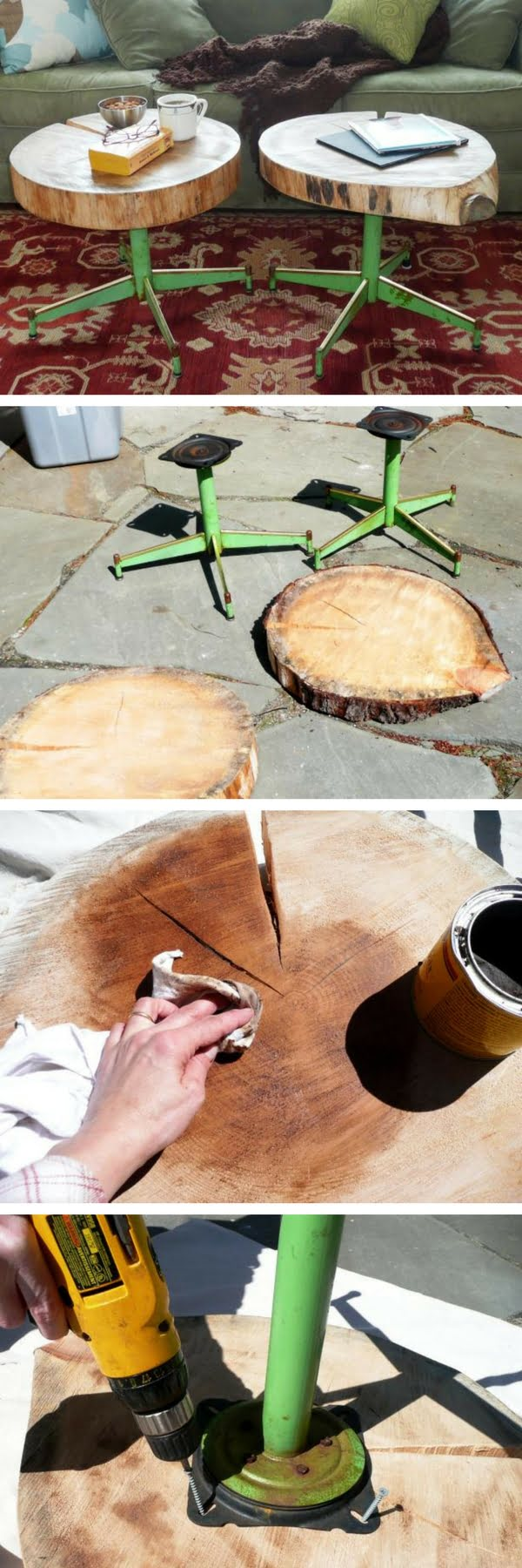 How to build DIY side tables from tree trunk and old chair legs