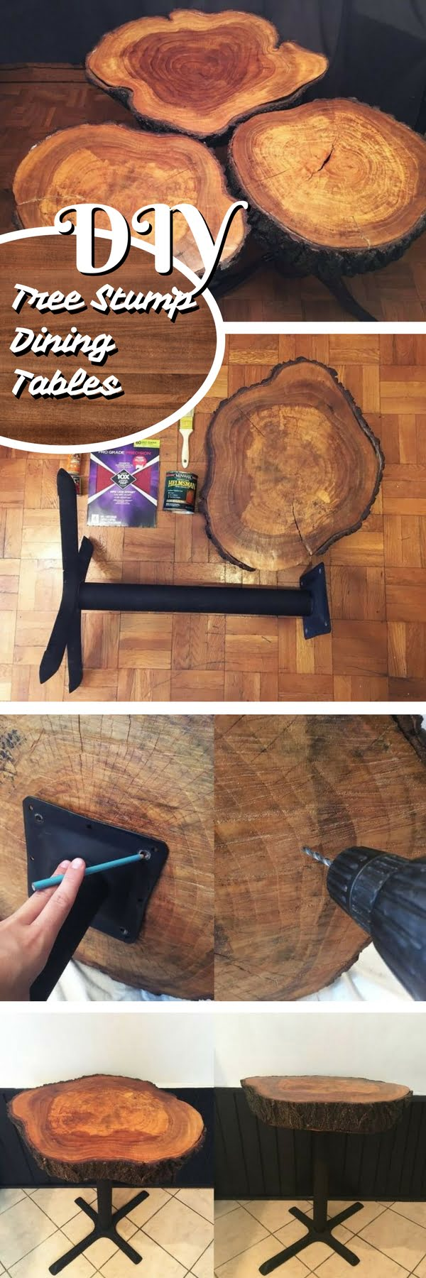 How to build DIY dining room tables from tree trunk