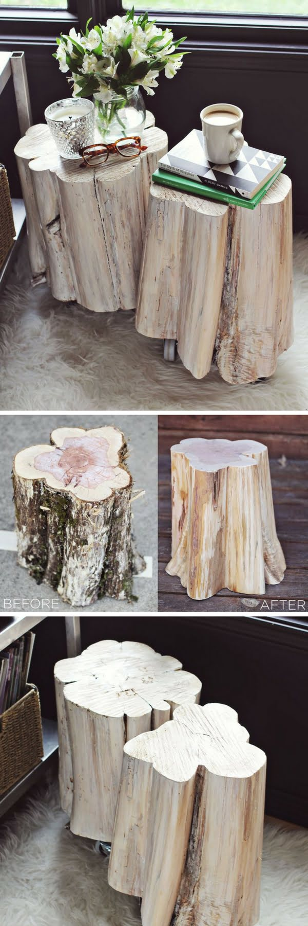 How to make DIY tree stump side tables