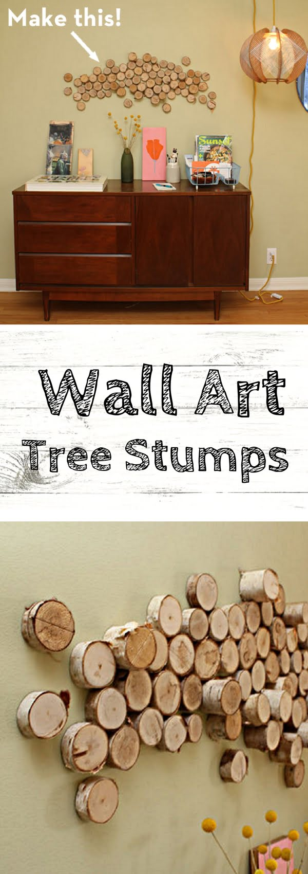 How to make DIY wall art from slices of tree log