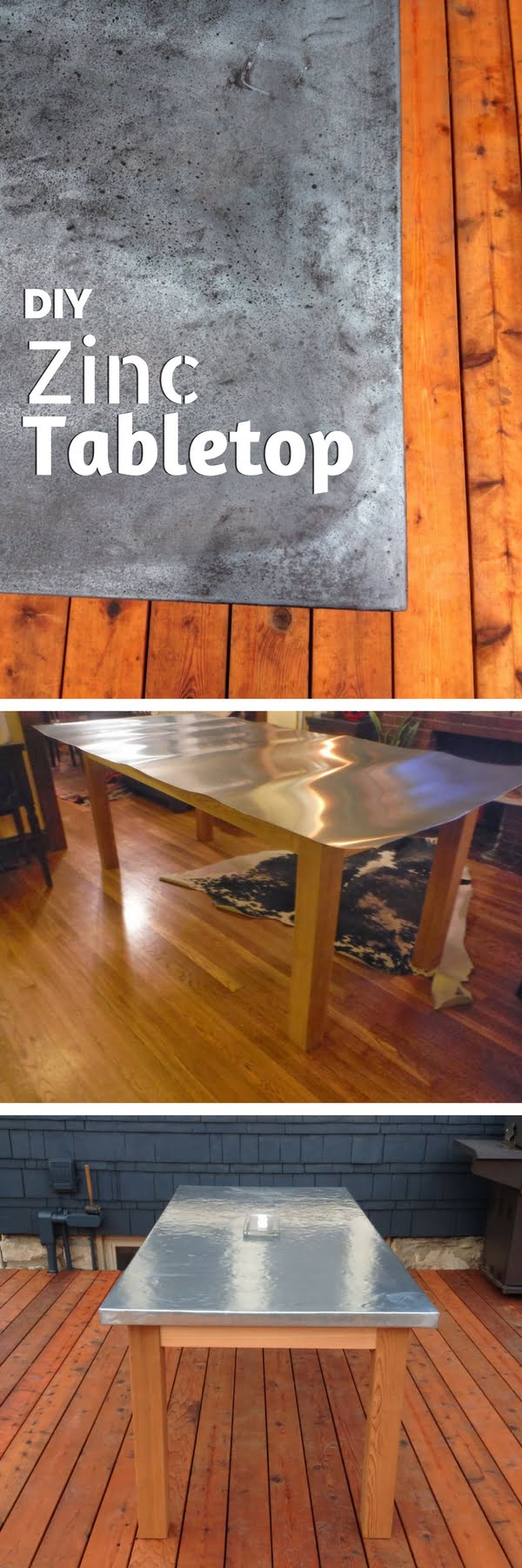 Check out how to build a DIY outdoor table with zinc tabletop