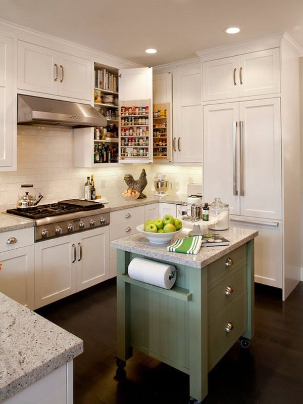 Small kitchens can have islands! It brings the entire decor together so well. Love it!