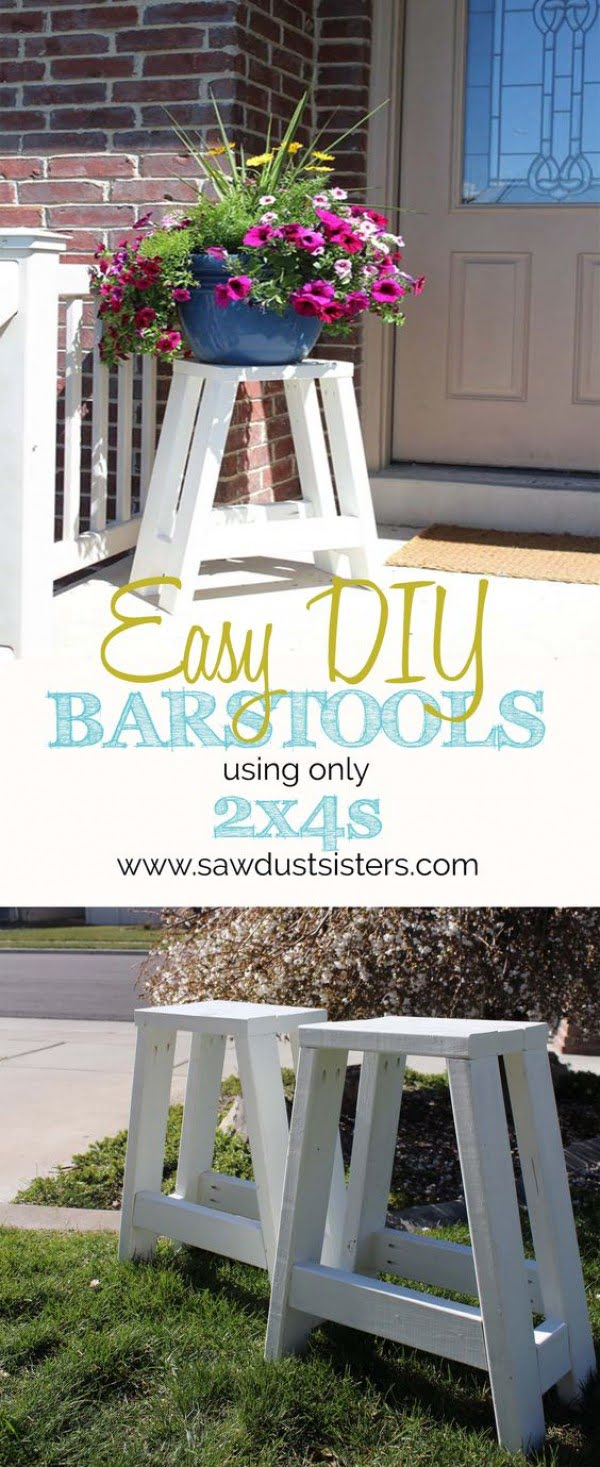 20 Crafty 2x4 DIY Projects That You Can Easily Make - Check out how to make DIY wooden bar stools from 2x4s