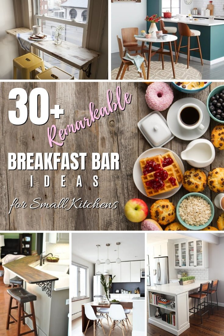 Small kitchen is not a sentence and you can have the best breakfast bar you want. Here are 30+ ideas of breakfast bars for small kitchens! #homedecor #kitchendesign