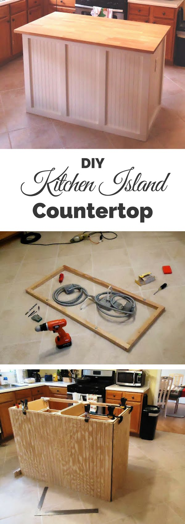 25 Easy DIY Kitchen Island Ideas That You Can Build on a Budget - Check out the tutorial on how to build a DIY countertop kitchen island