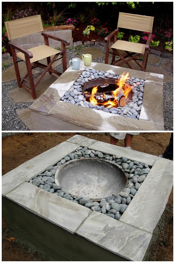Check out the tutorial on how to make a  modern style concrete fire pit