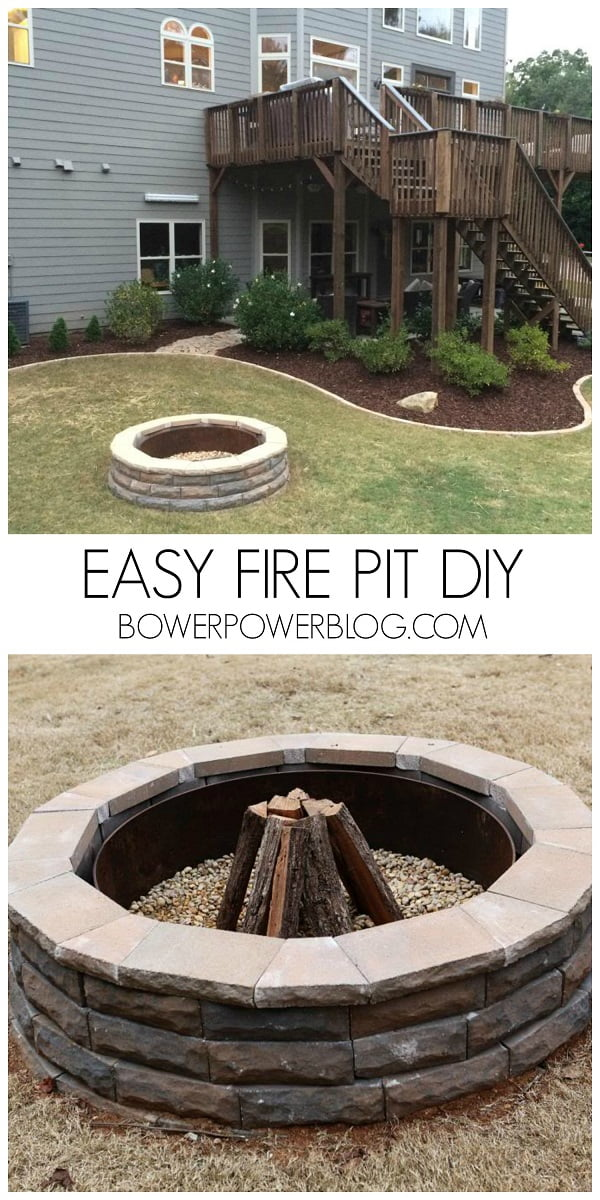 How to make a  fire pit in your backyard. Great project and tutorial!