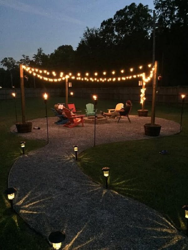 How to make a  fire pit with a seating are in the . Great project idea!