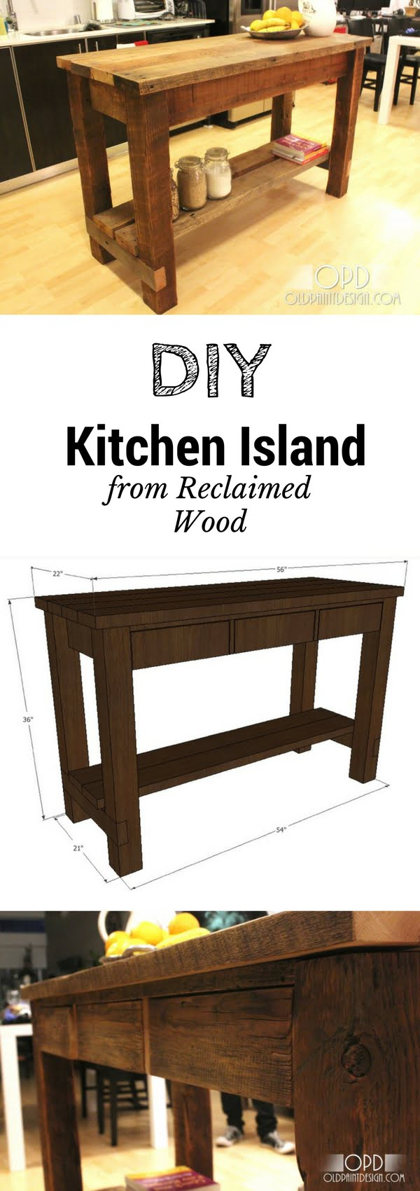 25 Easy DIY Kitchen Island Ideas That You Can Build on a Budget - Check out the tutorial on how to build a DIY reclaimed wood kitchen island