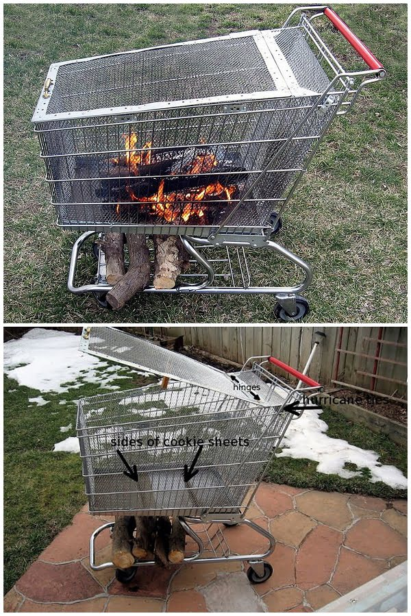 Check out the tutorial on how to make a  repurposed shopping cart fire pit