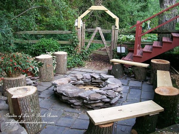 How to make an easy  fire pit from stacked stones in your . Great idea!