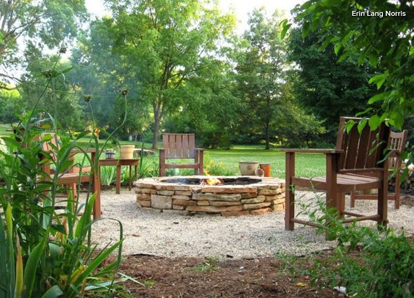 How to build a  stacked stone fire pit. Great idea!