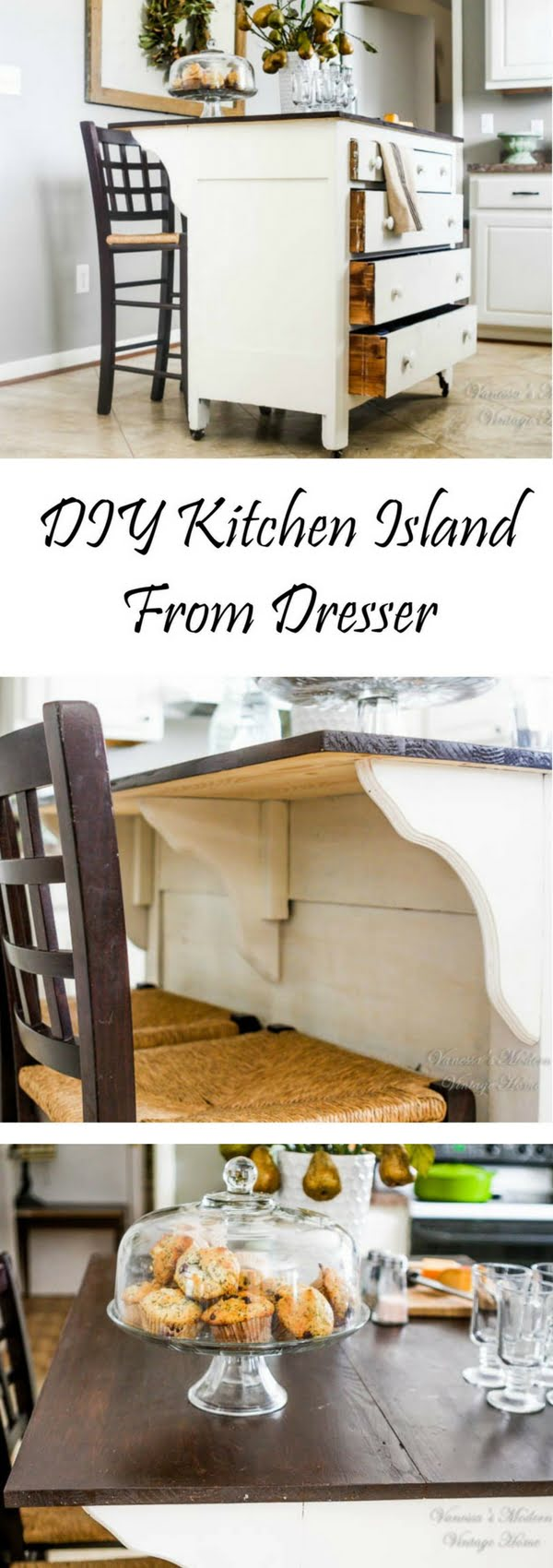 25 Easy DIY Kitchen Island Ideas That You Can Build on a Budget - Check out the tutorial on how to build a DIY kitchen island from a dresser