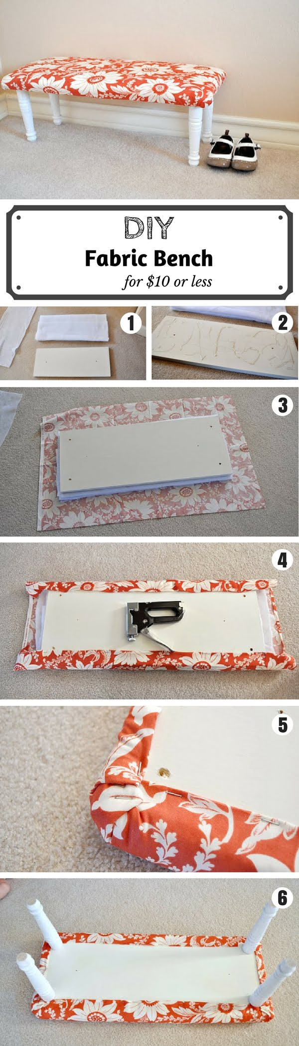 Check out the tutorial on how to make a DIY fabric bench