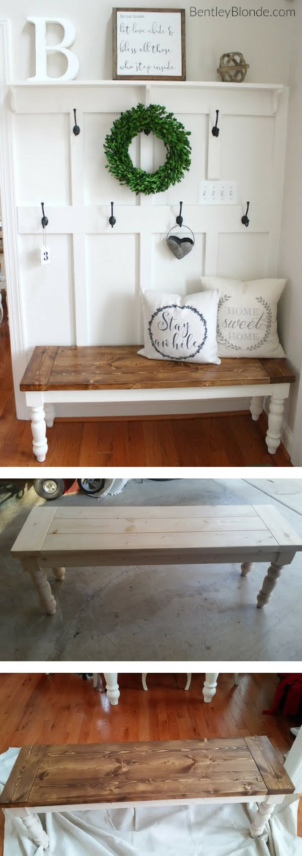 How to make a DIY farmhouse bench