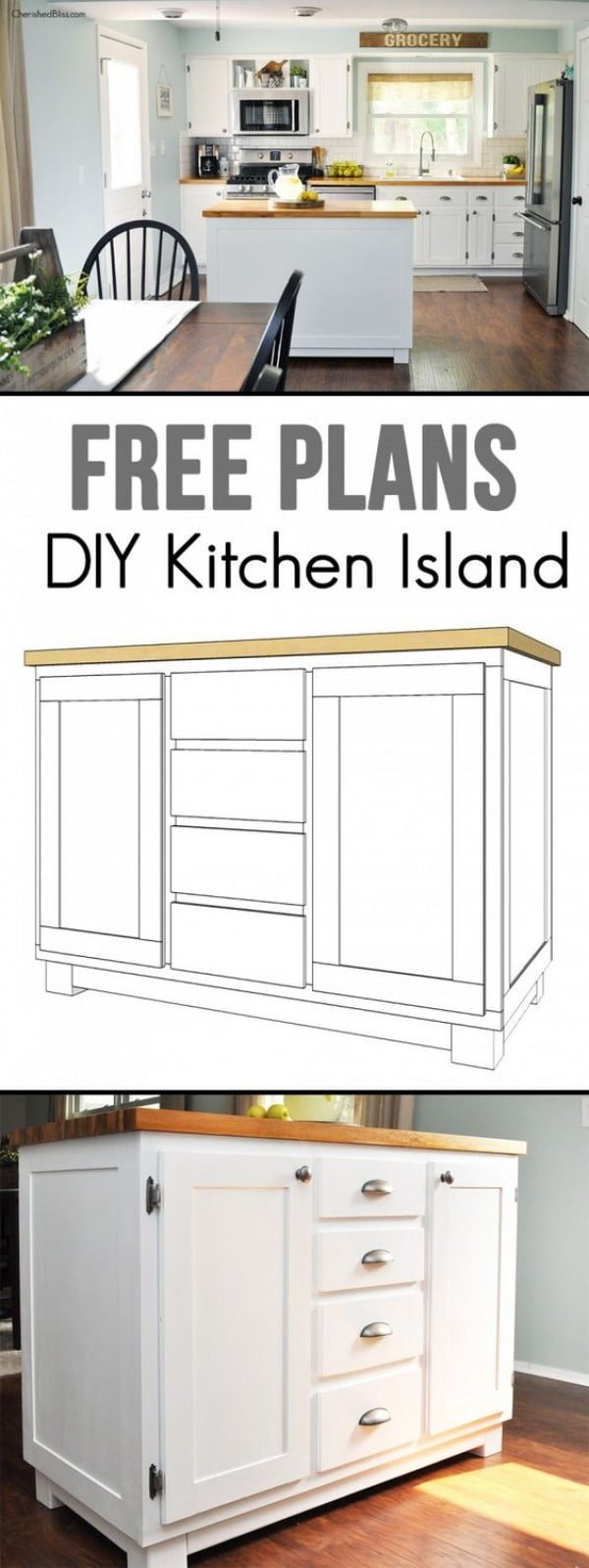 25 Easy DIY Kitchen Island Ideas That You Can Build on a Budget - Check out the tutorial on how to build a DIY kitchen island