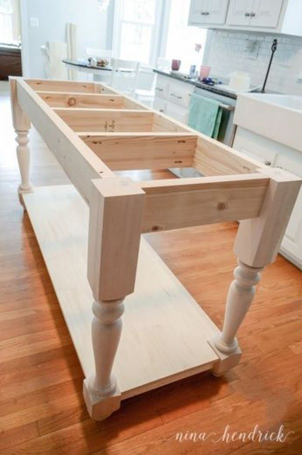 25 Easy DIY Kitchen Island Ideas That You Can Build on a Budget - Check out the tutorial on how to build a DIY furniture style kitchen island