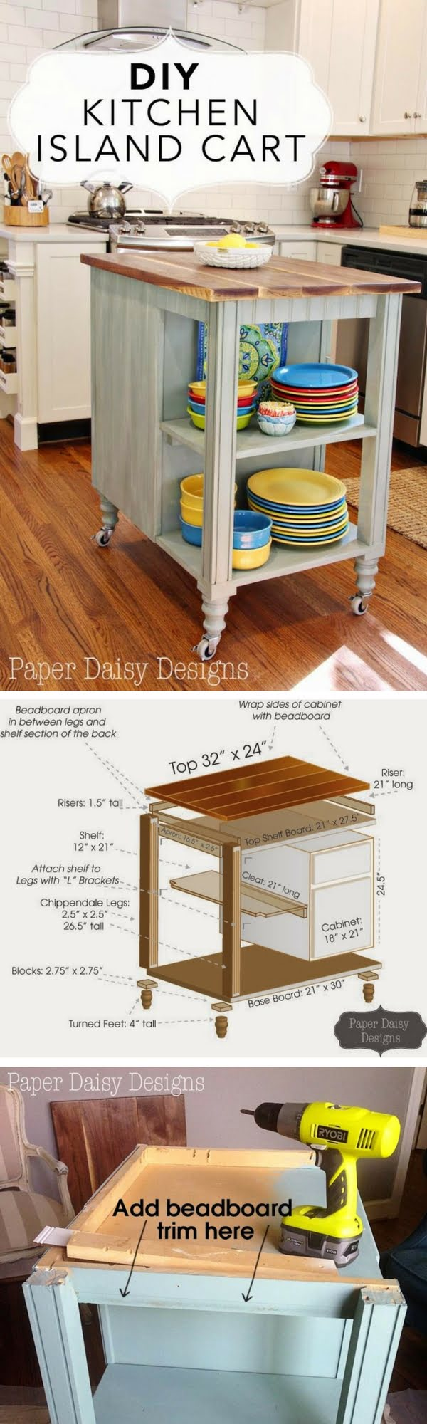 25 Easy DIY Kitchen Island Ideas That You Can Build on a Budget - Check out the tutorial on how to build a DIY kitchen island cart