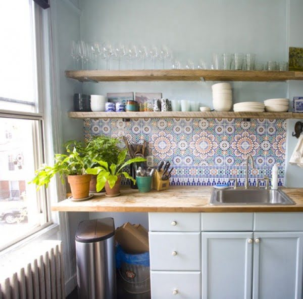 Check out the colorful tiles for backsplash in this #kitchen decor. Wood countertops and shelves all the way! #homedecor