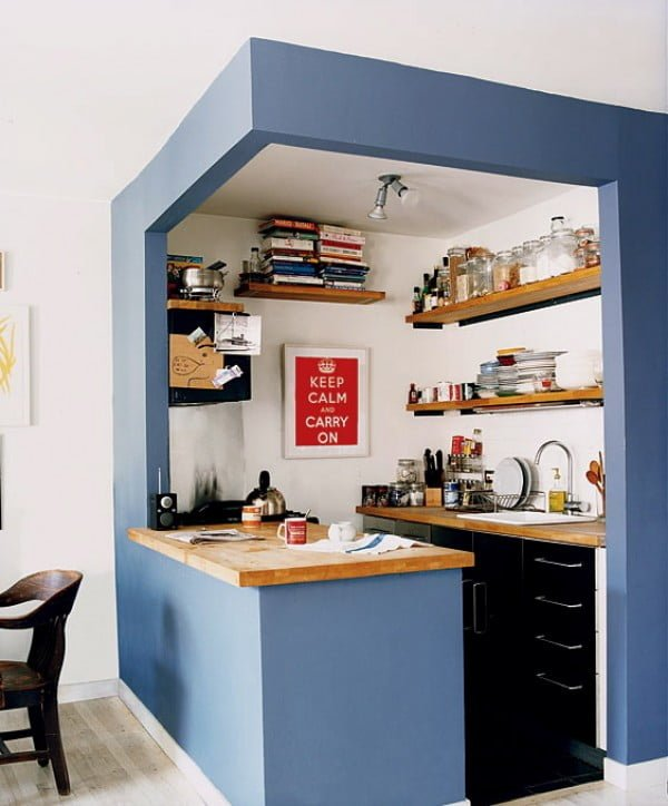 Stylishly separated with color. This tiny #kitchen is amazing! #homedecor