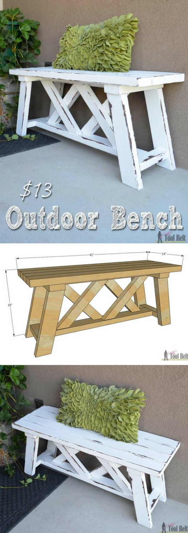 Check out the tutorial on how to make a DIY outdoor bench