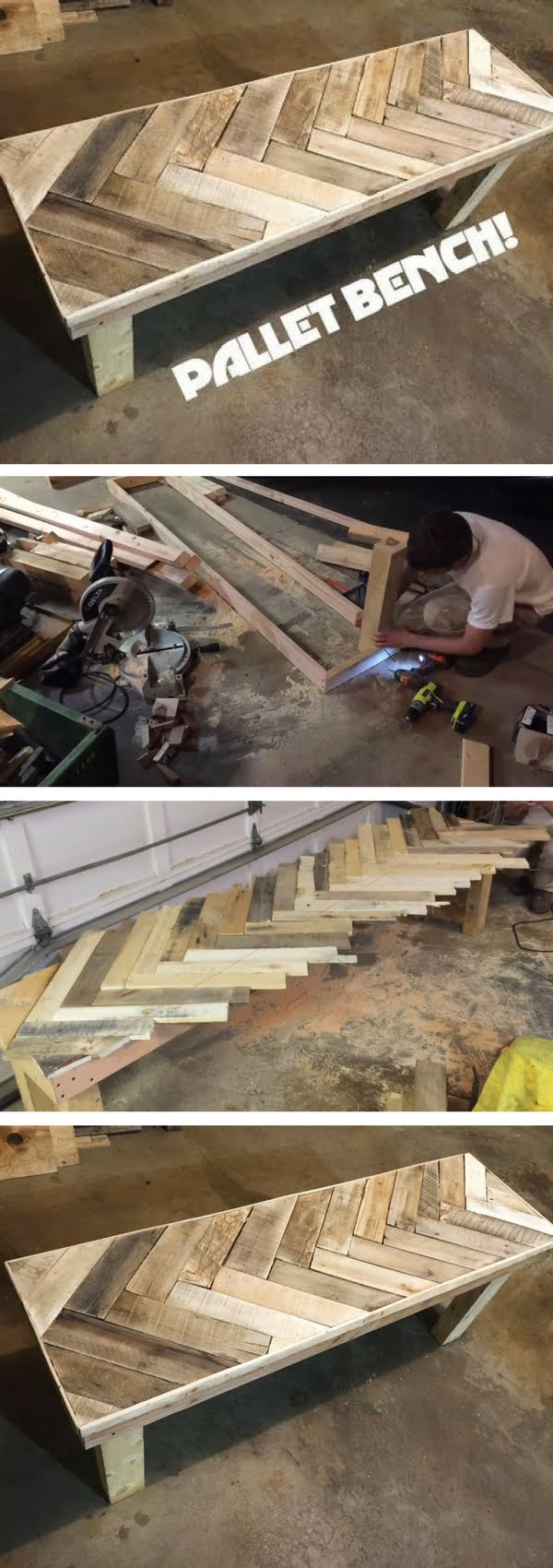 Check out the tutorial on how to make a DIY pallet bench