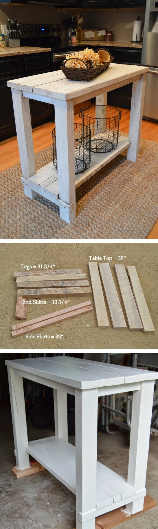 25 Easy DIY Kitchen Island Ideas That You Can Build on a Budget - Check out the tutorial on how to build a DIY kitchen island from reclaimed wood