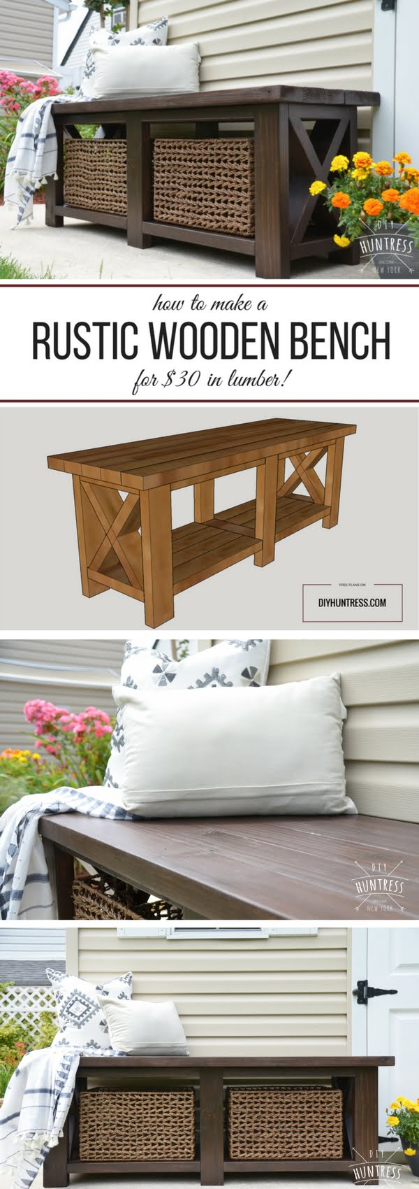 Check out the tutorial on how to make a DIY rustic bench