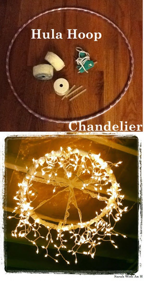 How to make an easy DIY outdoor hula hoop chandelier