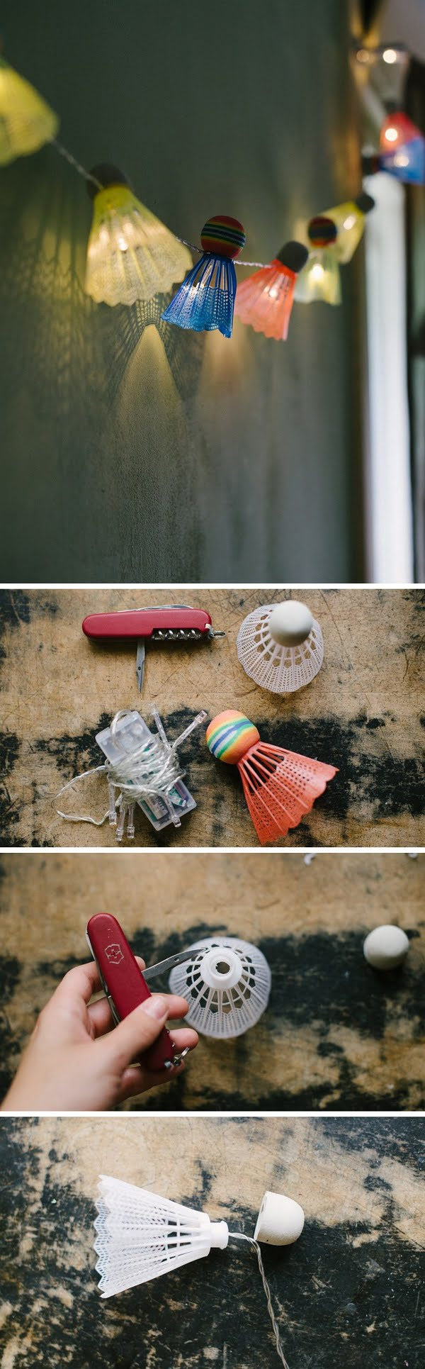 Check out this easy idea on how to make #DIY outdoor shuttlecock lights #homedecor #project #budget #crafts