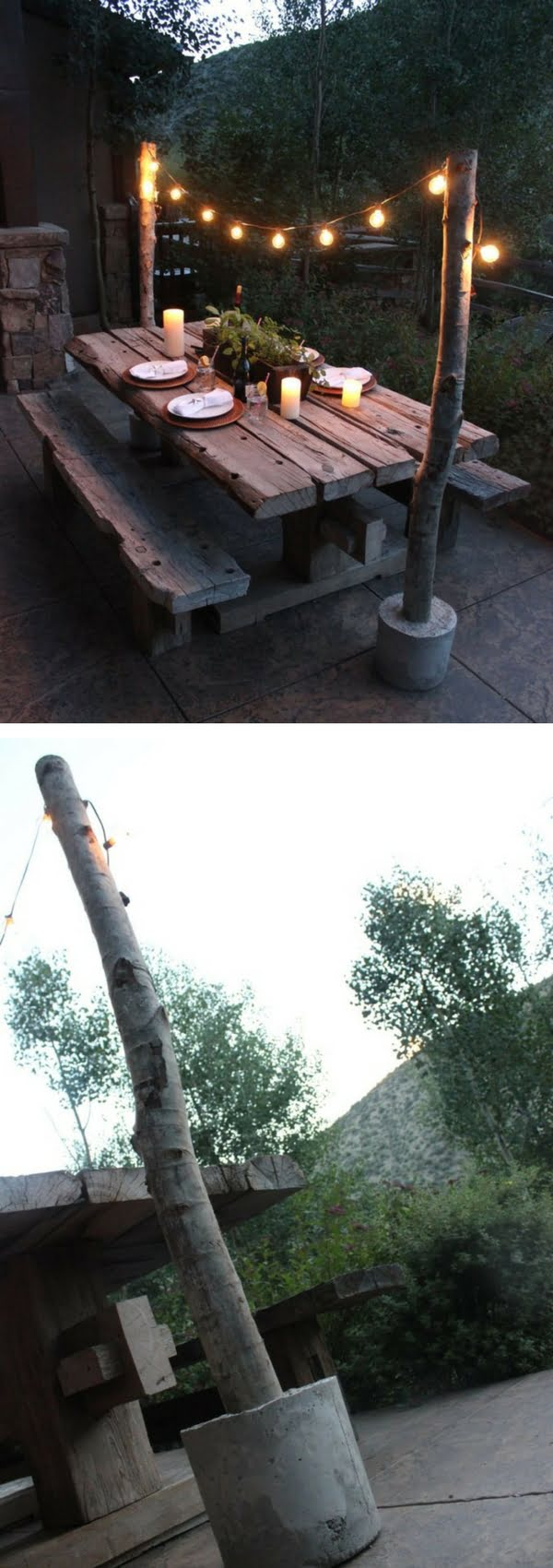 How to make easy DIY outdoor string light poles