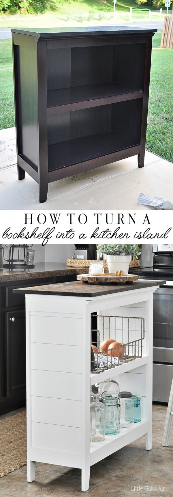 25 Easy DIY Kitchen Island Ideas That You Can Build on a Budget - Check out the tutorial on how to build a DIY kitchen island from a bookshelf