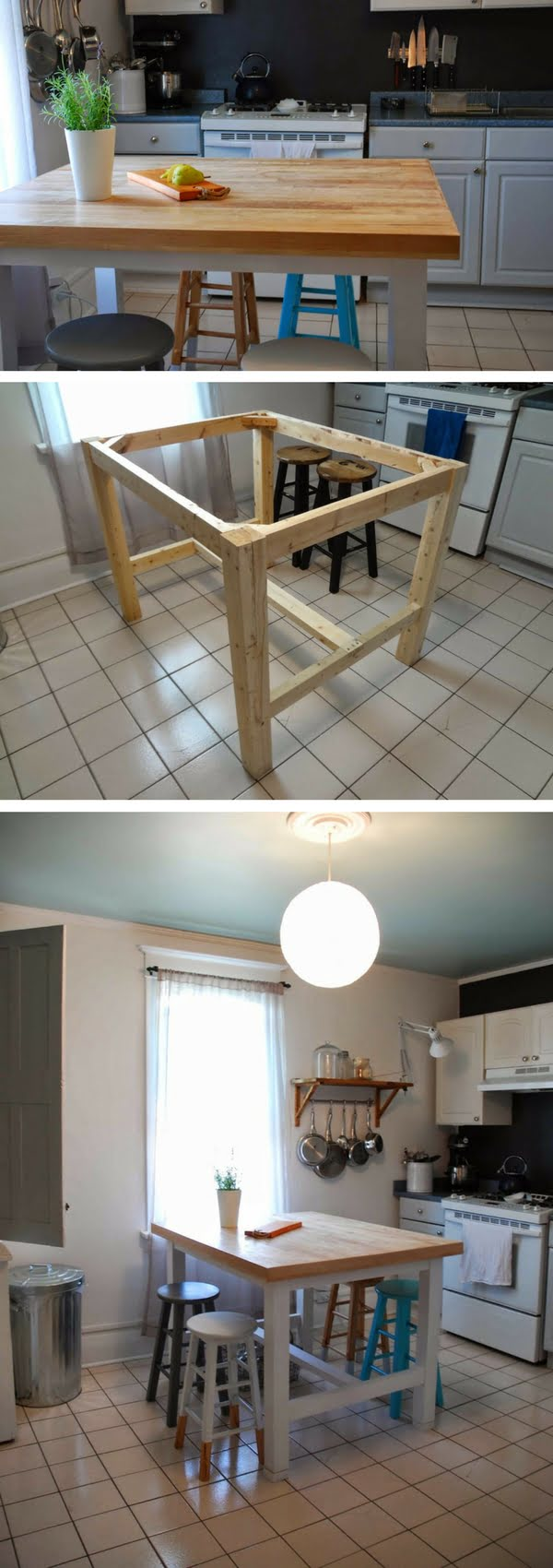 25 Easy DIY Kitchen Island Ideas That You Can Build on a Budget - Check out the tutorial on how to build a DIY tabletop kitchen island