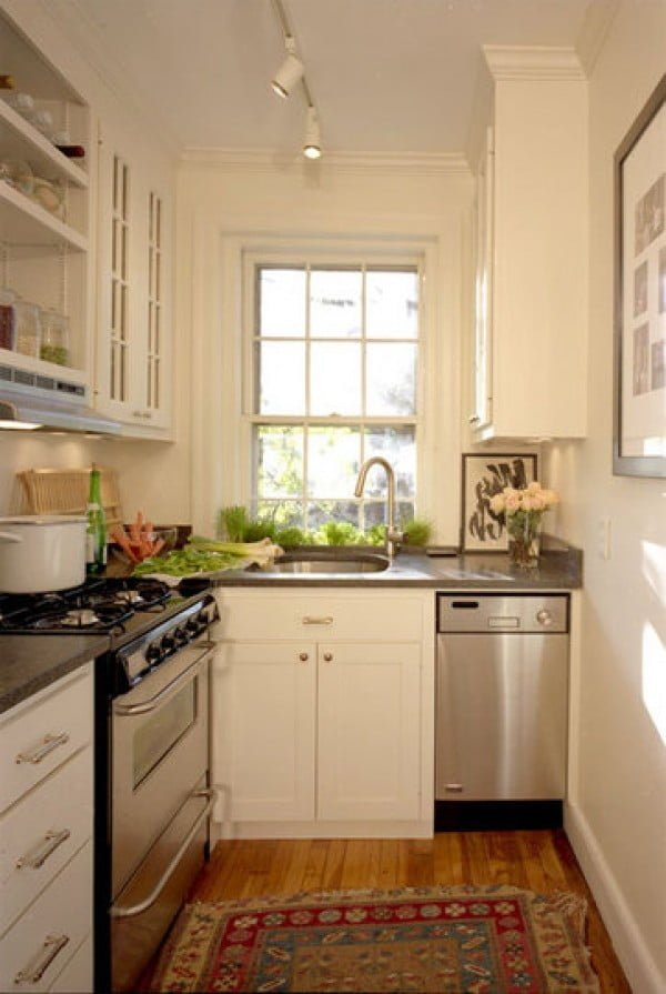 This is what difference molding can make in small spaces. Love this tiny #kitchen decor! #homedecor