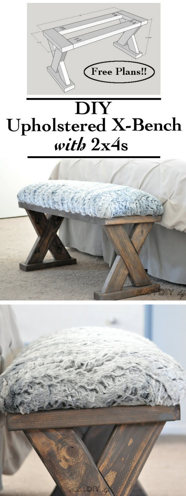 Check out the tutorial on how to make a DIY upholstered bench