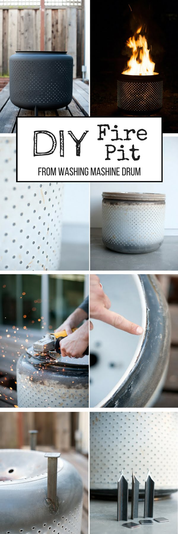 Check out the tutorial on how to make a DIY repurposed washing machine drum fire pit