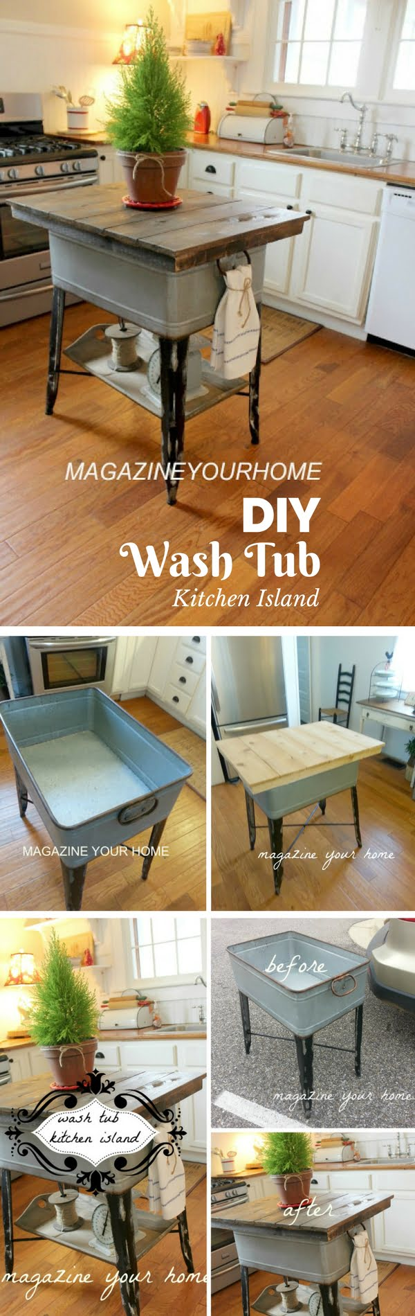 25 Easy DIY Kitchen Island Ideas That You Can Build on a Budget - Check out the tutorial on how to build a DIY kitchen island from a wash tub