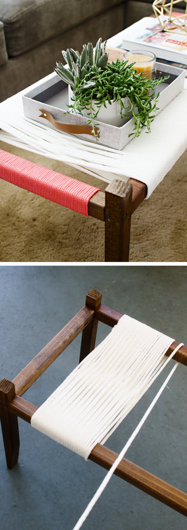 Check out the tutorial on how to make a DIY woven bench