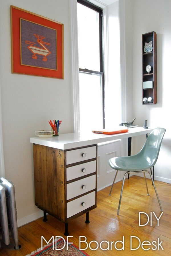 Check out this idea for a #DIY repurposed cabinet and MDF top desk. Looks easy enough! #HomeDecorIdeas
