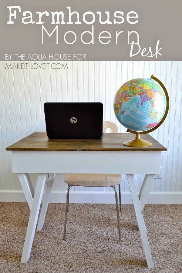 Check out this idea for a #DIY #rustic #farmhouse desk. Looks easy enough! #HomeDecorIdeas