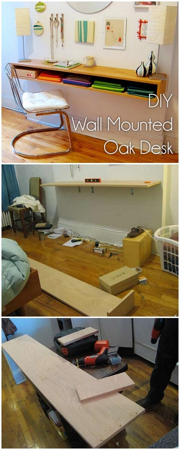 Check out this idea for a #DIY wall mounted oak desk. Looks easy enough! #HomeDecorIdeas